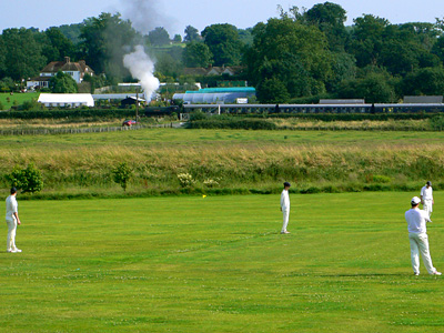 Steam train on the Kent and East Sussex Railway at Bodiam