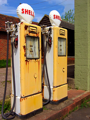 Old Shell petrol pumps, Harrietsham, Kent, England, Britain, UK