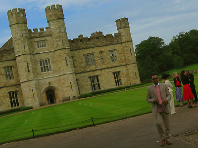 Wedding reception, croquet lawn, exterior, outside, outdoors, Leeds Castle, Kent, England, Britain, UK, May 2007