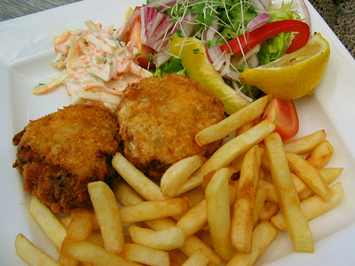 Salmon and haddock fishcakes at the Pepper Box Inn, Ulcombe