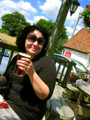 Beer garden at the Pepper Box Inn, Ulcombe