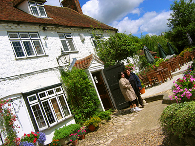 Beer garden and pub facade, Pepper Box Inn, Ulcombe