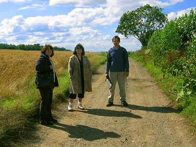 English Country Walks group on farm track near Chegworth Court