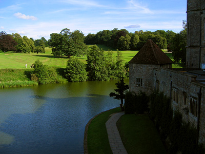 View over the moat from inside Leeds Castle