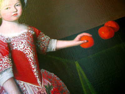 Painting of a young girl with fruit, Leeds Castle