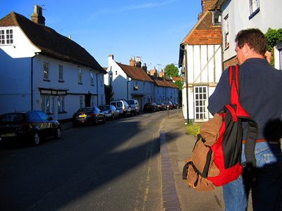 Myles leaving the Windmill pub, Eyhorne Street, Hollingbourne