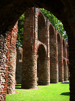 Columns at St Botolph's Priory in Colchester